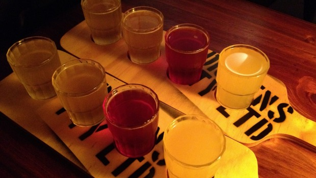 Bottoms up: Tasting at Dickens Cider House in Launceston.