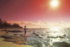 Fishing at Bulcock Beach,  Caloundra, Sunshine Coast, Queensland