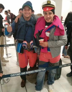 Baggage tactics: Two travellers who wore layers of their clothing in the air to avoid excess baggage costs.