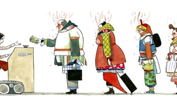 Passengers are taking too much carry-on luggage on to flights. Illustration: Simon Letch