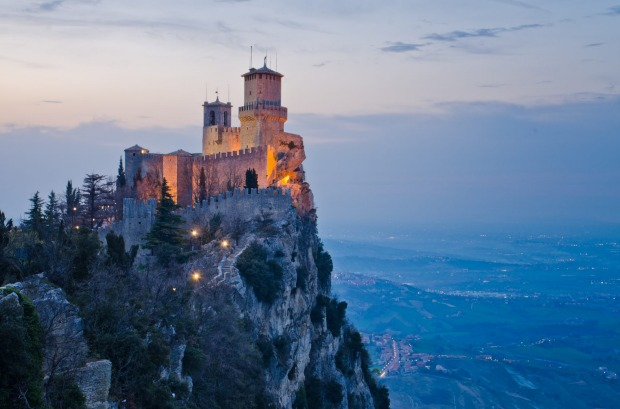 San Marino (61 square km. Population: 32,000). Enigmatic UNESCO heritage-listed San Marino towers over the surrounding ...