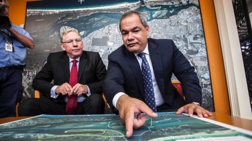 Deputy Premier Jeff Seeney and Gold Coast Mayor Tom Tate discuss the Broadwater Marine Project in late 2012.