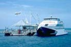 The FantaSea catamaran leaves Shute Harbour each morning and travels to the outer reef