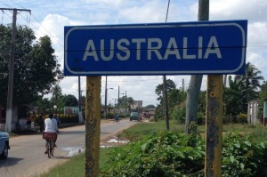 A street sign welcomes visitors to Australia, Cuba.