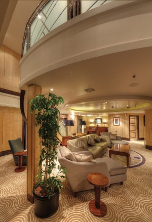 Queen Mary 2: Queens Grill Grand Duplex. The two-deck suites have a bedroom and two marble master bathrooms on the upper ...
