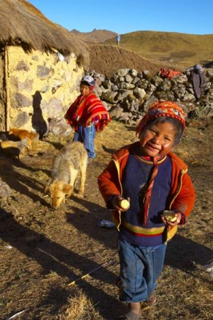 Breathless ... on the Lares Trail, children greet walkers in the village of Chaki Qocha.