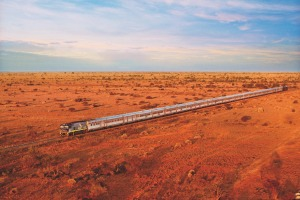 Better than a plane ... the Indian Pacific train rolls through the outback.
