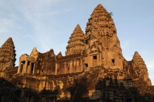 Cambodia's famous Angkor Wat temple is seen at sunrise.