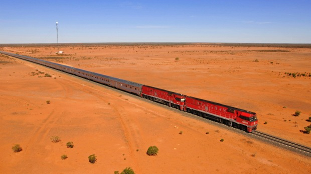 The Ghan going through the Outback desert