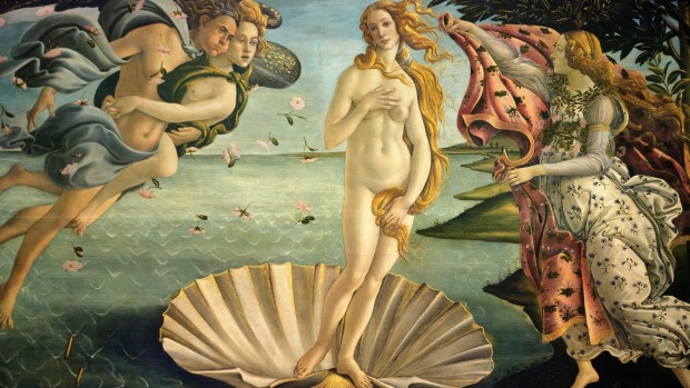 THE BIRTH OF VENUS, SANDRO BOTTICELLI - UFFIZI GALLERY, FLORENCE. In 1486, Botticelli was commissioned to create this ...