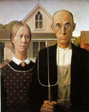 AMERICAN GOTHIC, GRANT WOOD - ART INSTITUTE OF CHICAGO. A strange choice, but this painting is deeply entrenched in ...