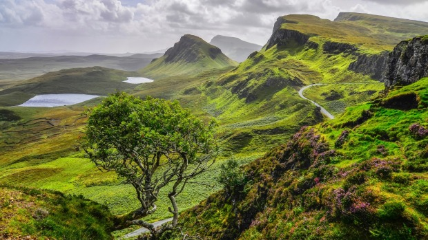 Quiraing, Isle Skye, Scotland: From the summit, you look back out over the rock formations to - on a good day - the ...