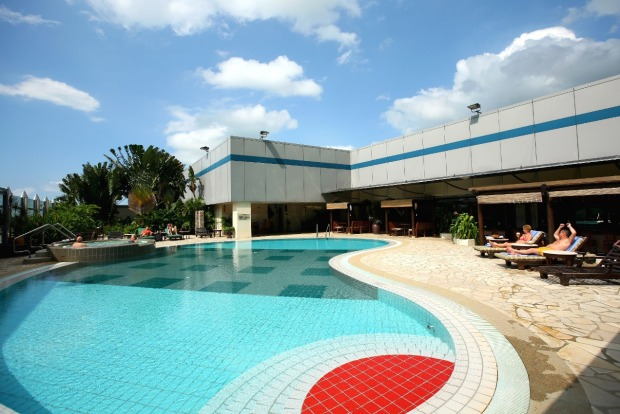 The rooftop swimming pool.