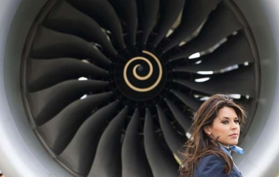 Model Daniella Lineker stands in front of the Boeing 787 Dreamliner aircraft at Farnborough ahead of its air show debut.