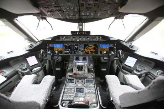 Instrument panels and controls of the Boeing 787 Dreamliner are seen prior to the opening of the Farnborough ...