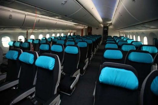 The interior of the Boeing 787 Dreamliner is seen on display prior to the opening of the Farnborough International Airshow