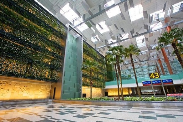 Trees and plants dot the building, which boasts a five-storey vertical garden with waterfalls.