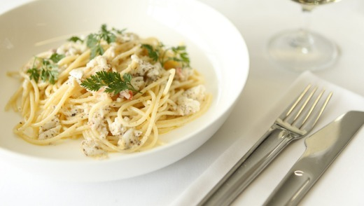 Dish of the day: Spaghetti with sweet, tender Fraser Island spanner crab and Pepe Saya truffle butter.
