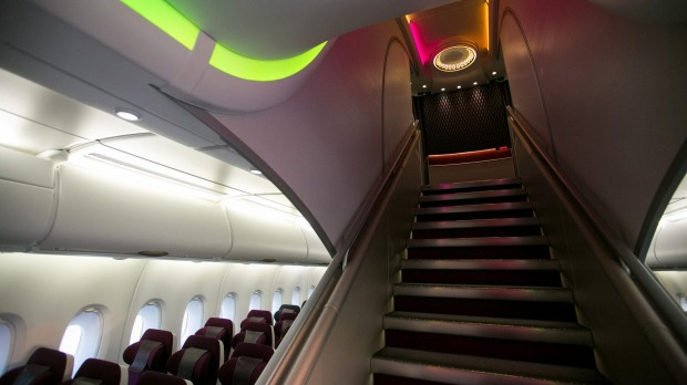 The staircase between floors on Qatar Airways first Airbus A380.
