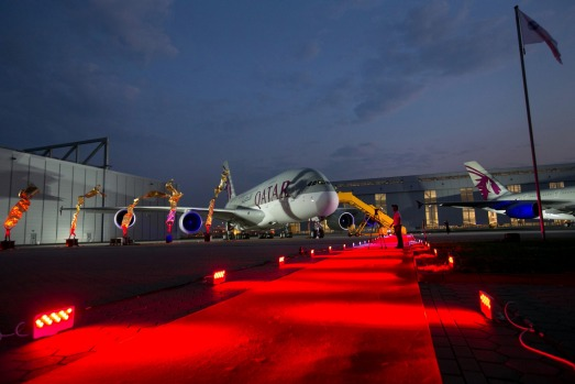 Qatar Airways' first Airbus A380 stands on the tarmac during the delivery ceremony at the Airbus factory in Hamburg, Germany.