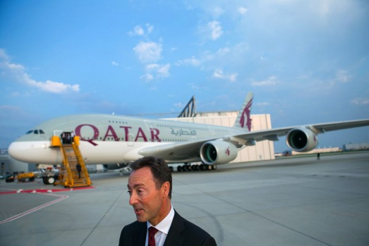 Fabrice Bregier, chief executive officer of Airbus, during the Qatar Airways delivery ceremony.