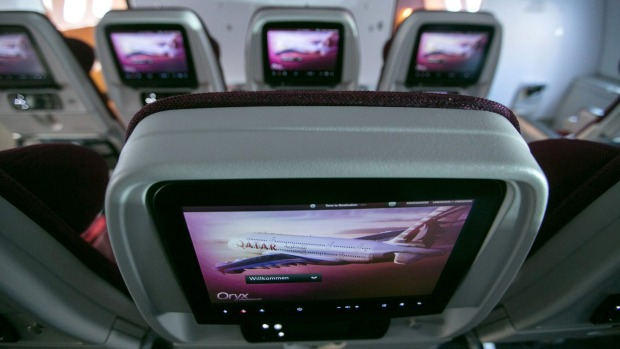The inflight entertainment monitors in economy class on the Qatar Airways A380.