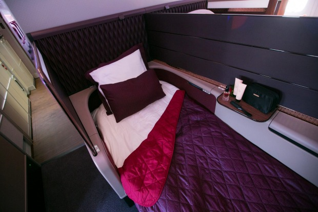 First class on the Qatar Airways A380 superjumbo.