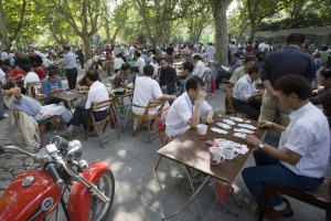 Card players gather for a game or two at Fuxing Park in Shanghai.