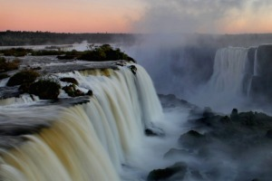 Niagara, eat your heart out: Sunset at the Iguazu Falls, Iguacu National Park, near the town of Foz do Iguacu, Parana, Brazil.