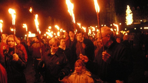 Crowd With Torches, Hogmanay, Edinburgh.