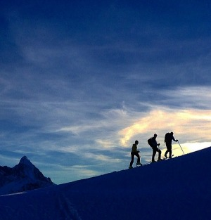 Backcountry ski touring in Mt Aspiring National Park, New Zealand.