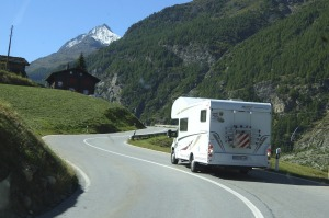 Scenic: Climbing up the road towards the Materhorn in Switzerland.