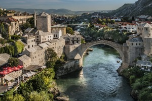 Replica: The Old Bridge of Mostar, built in 1566, was destroyed in 1993. The New Old Bridge, as it is known, was ...