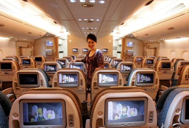 Economy class on board a Singapore Airlines A380.