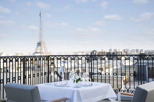 The view from a balcony at the Peninsula Paris.