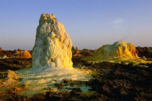 Dallol, Ethiopia. In the Danakil Depression, it dips 116m below sea level, and is home to the settlement of Dallol, the ...