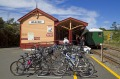 Rush hour: Bike parking at Waikino railway station on the Hauraki Rail Trail.