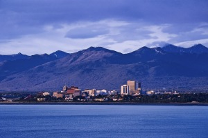 The mountain-backed skyline of Anchorage, capital city of Alaska.