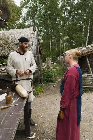 Viking couple at the Birka world heritage site