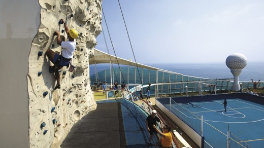 The popular rock wall on the Royal Caribbean International cruise ships.