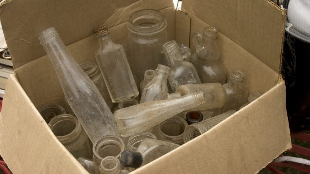 Bounty: Antique bottles left for collection.