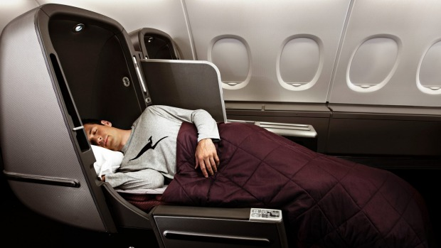 Qantas A380 business fully flat bed.