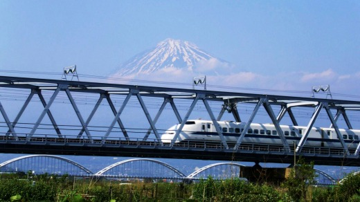 The joy of fast trains: Passing Mount Fuji on a bullet train.