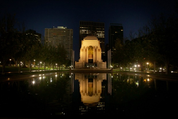 The building of the Pool of Reflection in front of the Anzac Memorial helped provide employment during the Depression to ...