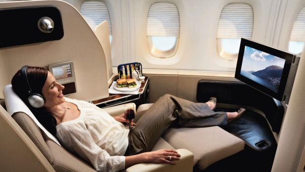 ON BOARD THE QANTAS A380: First class on board the Qantas 380.