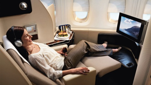 First class on board the Qantas 380.