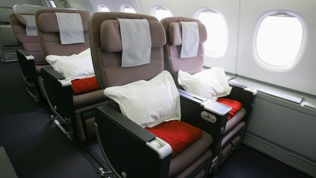 Premium economy class on board the Qantas A380.