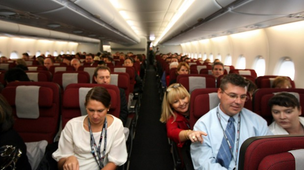 Economy class on the Qantas Airbus A380.