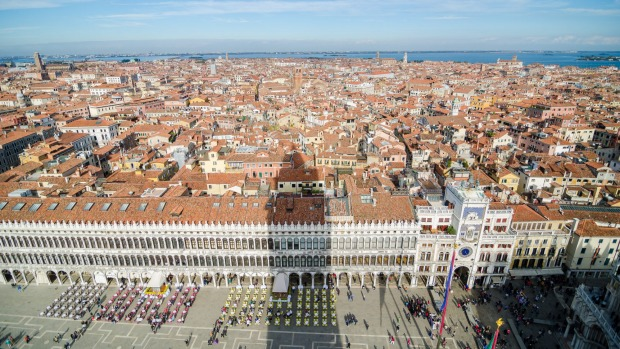 City icon: A view from St Mark's Campanile, the bell tower of St Marks Basilica in Venice.