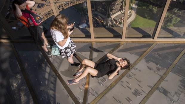 The new solid-glass floor allows visitors to have a bird's eye view from 57 metres above the ground.